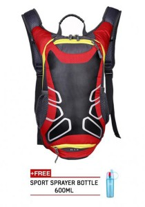 FASHION TEE 12L Unisex Sports Cycling Riding Backpack Durable Bag (Red) + Free Sip-n-Spray 600ml (Blue)