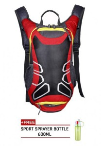 FASHION TEE 12L Unisex Sports Cycling Riding Backpack Durable Bag (Red) + Free Sip-n-Spray 600ml (Green)