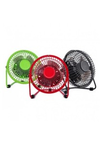 "USB Fan Super Mute Table Desktop Fan Metal 4"" (Red)"