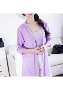 [OEM] Korean Chiffon Long-Sleeved Slim Sun Protection Lace Cardigan (Purple)