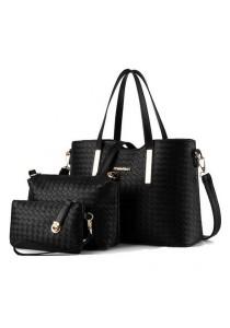 [OEM] Europe Style PU Leather Handbag 3 in 1 set (Black)