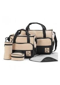 [OEM] 5 in 1 Multifunction Tote Baby Shoulder Diaper Bags (Black)