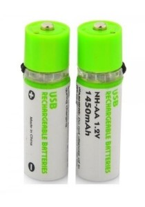 [OEM] Environmental Friendly USB Rechargeable 1450mAh NH-AA Battery (2pcs) (Green)