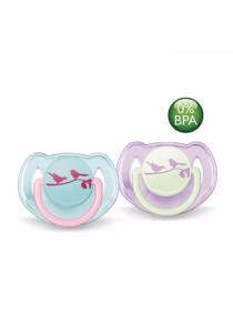 Philips AVENT Classic Soothers 6-18m Twin Pack - Blue Purple Birds
