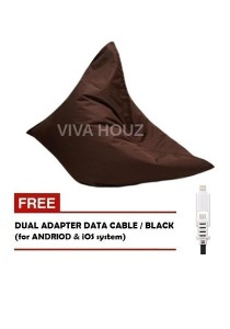 MEGA Bean Bag (XL Size)- Brown + FREE Black Dual Adapter Cable