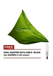 MEGA Bean Bag (XL Size)- Green + FREE Black Dual Adapter Cable