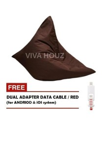 MEGA Bean Bag (XL Size)- Brown + FREE Red Dual Adapter Cable