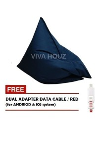 MEGA Bean Bag (XL Size)- Navy Blue + FREE Red Dual Adapter Cable