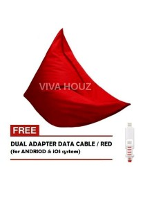 MEGA Bean Bag (XL Size) Red + FREE Red Dual Adapter Cable