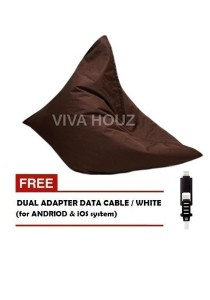 MEGA Bean Bag (XL Size)- Brown + FREE White Dual Adapter Cable