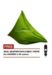 MEGA Bean Bag (XL Size)- Green + FREE White Dual Adapter Cable