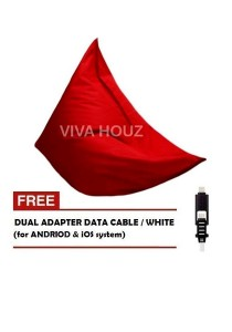 MEGA Bean Bag (XL Size)- Red + FREE White Dual Adapter Cable