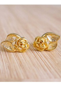 Cream By Val - Gold Rose Studs