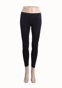Su.soku Seamless Ankle Length Wide Band Leggings - Black Colour