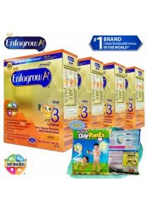 Enfagrow A+ Step 3 (1-3 Years) 600g (4 packs) - Honey + FOC 2 packs Petpet DayPants Sample (random size)