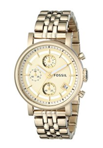 Fossil Women's ES2197 Stainless Steel Watch with Link Bracelet (Gold-Tone)