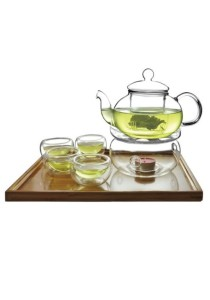 *PRE-ORDER! SHIP OUT END MARCH* Glass Tea Pot Set + Warmer + 6 Double Wall Cup