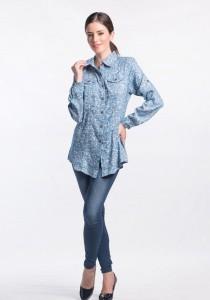 Muslimah Jean Printed Top (Medium Blue)
