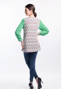 Muslimah Contrast Floral Print Top (Green)