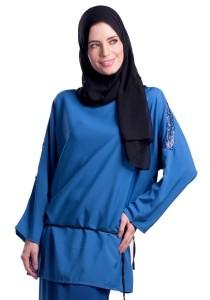 Esprima Sequin Shoulder Blouse (Blue)