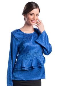 Esprima Printed Peplum Blouse (Blue)