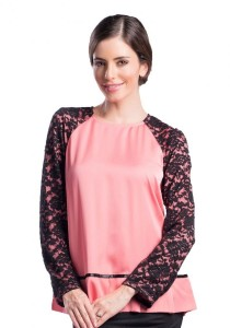 Esprima Satin And Lace Peplum Blouse (Pink)