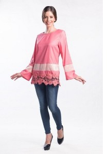 Muslimah Satin with Lace Top (Pink)