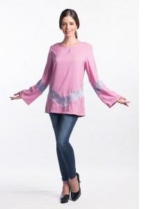 Muslimah Subtle V Shape Pattern Top (Pink)