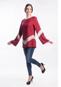 Muslimah Subtle V Shape Pattern Top (Red)