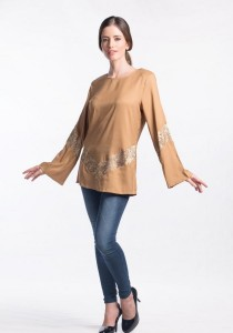 Muslimah Subtle V Shape Pattern Top (Yellow)