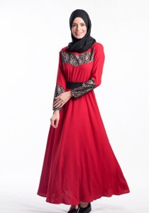 Muslimah Long Black Belt Dress (Red)