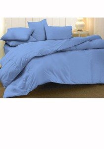 Essina Cotton Candies Blue King Size Fitted Bed Sheet with Quilt Cover Set