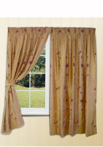Essina Wax Flower 2 Layer French Pleated Curtain 3 Panel