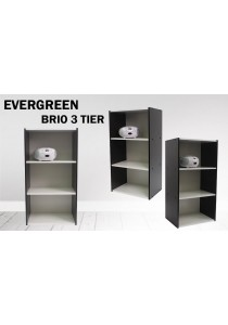 EVERGREEN - BRIO 3 Tier Premium Wooden Bookshelf Rack CB8042