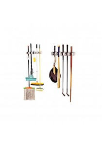 EZ Mop Holder and Broom Organizer + Pull Out Hooks