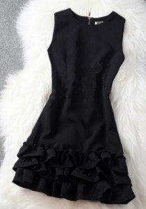 Girly Sleeveless Top with Frills (Black)
