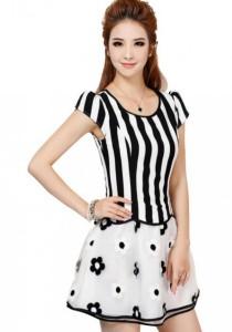 Striped Princess Floral Dress (Black, White)