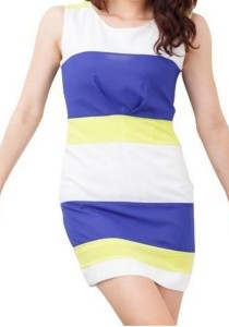 Striped Bodycon Dress (Blue, Yellow, White)