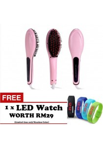 Brush Fast Hair Straightener Combs LCD Electric Professional Hair Straightener Brush Straightening Irons Comb Iron Styling Tool FREE LED WATCH