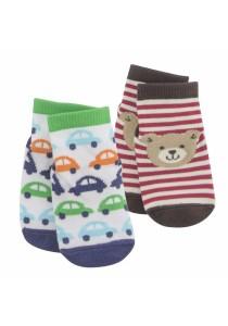 FIFFY 2 in 1 Anti-slip Baby Socks (Brown & Blue)