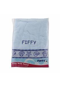 FIFFY 100% Cotton Baby Bath Towel (Blue)