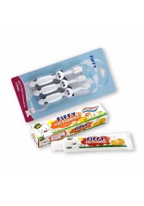 FIFFY 3 Stage Training Toothbrush Set with Toothpaste (Orange)