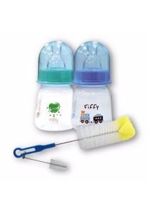 FIFFY Twin Pack 2oz Feeding Bottle with Multipurpose Sponge Tip Brush