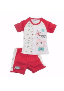 FIFFY Camping Holiday Short Sleeve Vest Suit (Red)