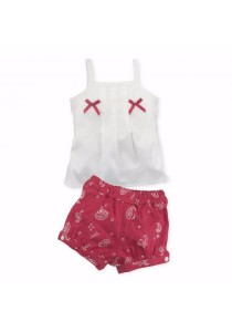 FIFFY Baby Girl Bowknot Vest Suit (Red)