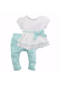 FIFFY Polka Dots Blouse Suit (Green)
