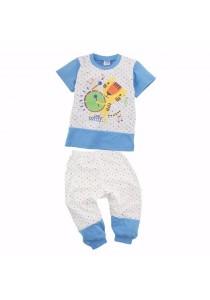 FIFFY Polka Dot Short Sleeve Pyjama Suit (Blue)