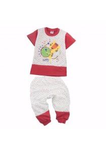 FIFFY Polka Dot Short Sleeve Pyjama Suit (Red)