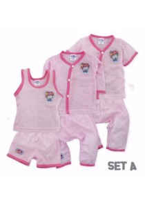 FIFFY 3 in 1 Eyelet Baby Suit (Set A) Pink