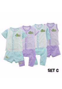 FIFFY 4 in 1 Eyelet Baby Suit (Set C)